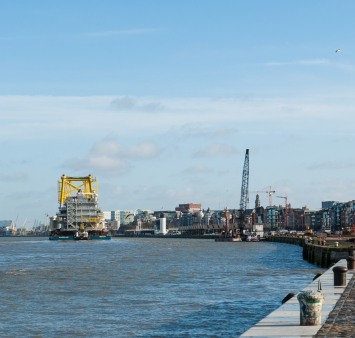 Offshore substation for the Race Bank wind farm in the UK leaves the Port of Antwerp