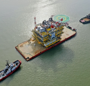 Deutsche Bucht substation sets sail to German North Sea